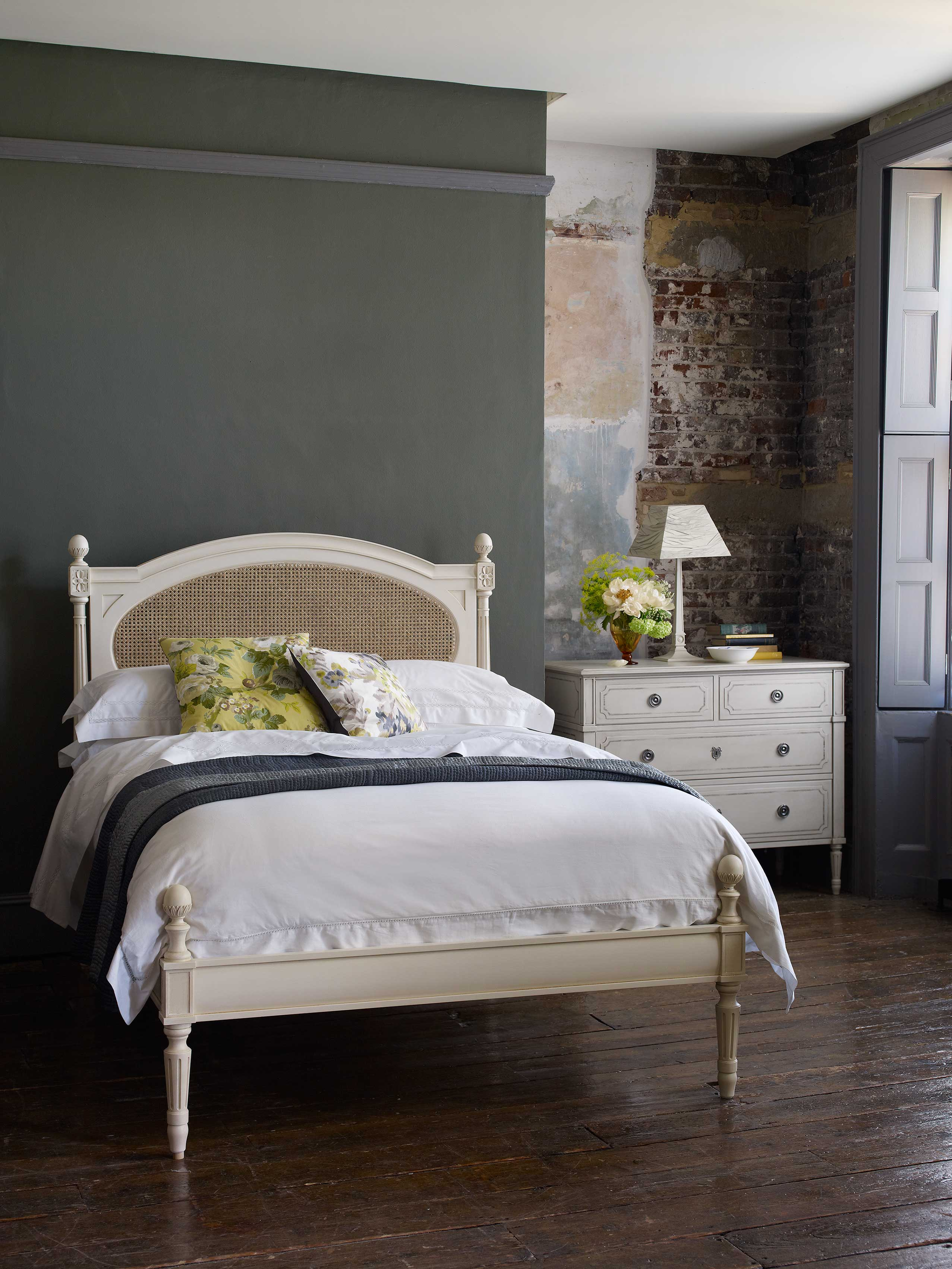 Anton Bed With Caned Head Board Leporello